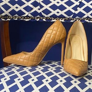 Cognac quilted classic pointy toe stiletto pump heels